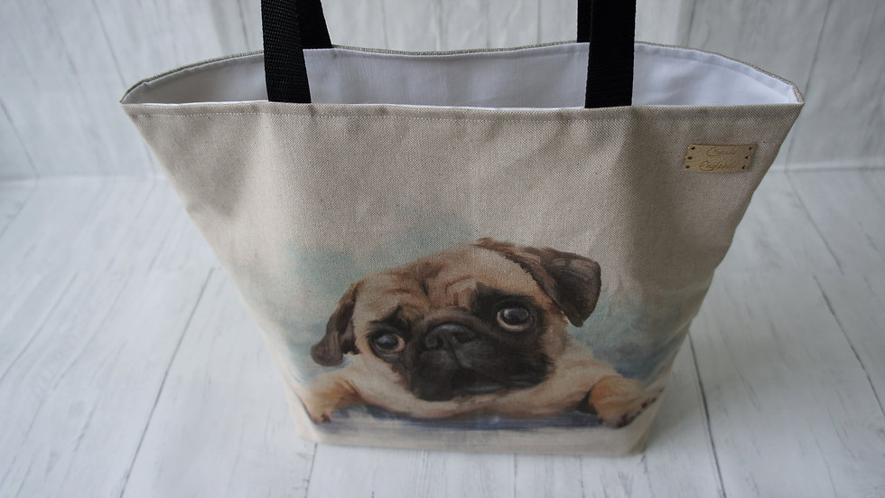 Pug Print Tote Bag. Strong Lined Bag with 100cm handles & zip pocket