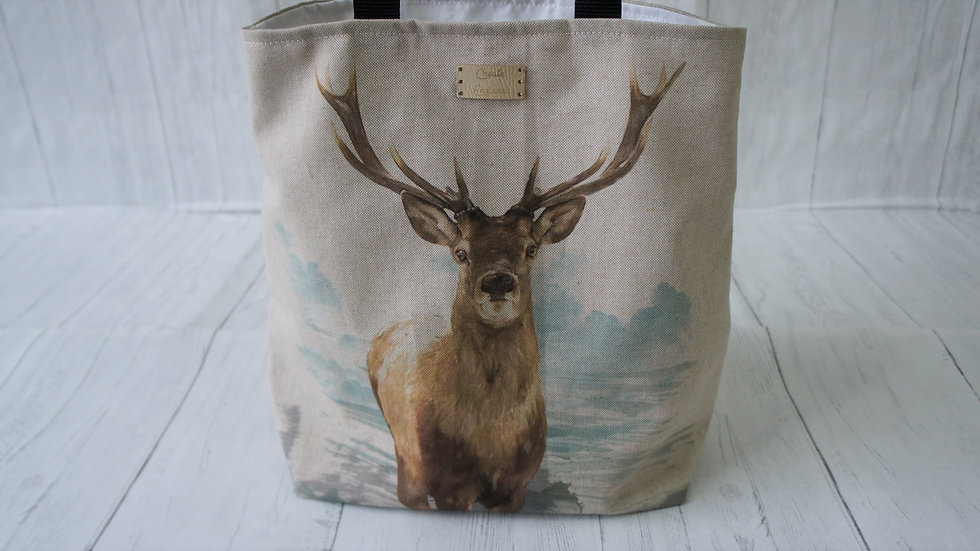 Stag Print Tote Bag. Strong and Fully Lined Bag with 100cm handles zip pocket