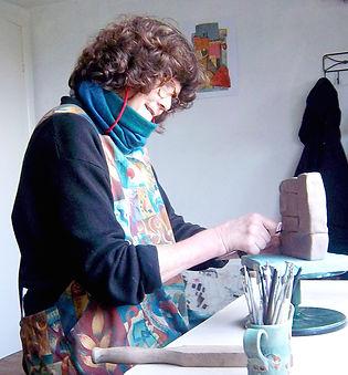 Sara Evans, Ceramic Sculpture, Working in Studio, Devon