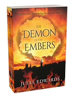 The Demon in the Embers, the fourth book in the Scar Gatherer series by Julia Edwards. Unlucky for Some Scar Gatherer series history time travel tales twist bite Julia Edwards books independent author writing workshops schools kids children teach VIPERS comprehension Key Stage 2 Two.