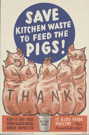 save, kitchen, waste, wartime, poster, pigs