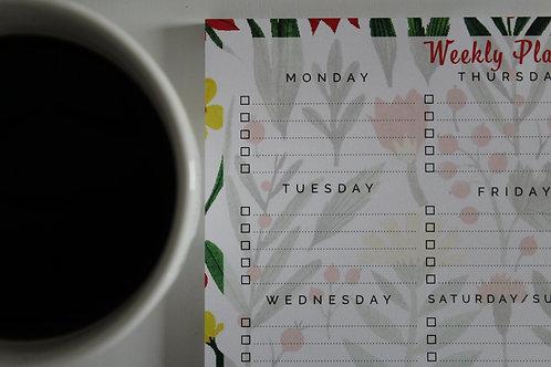 Weekly Planner Deskpad - Funky Floral