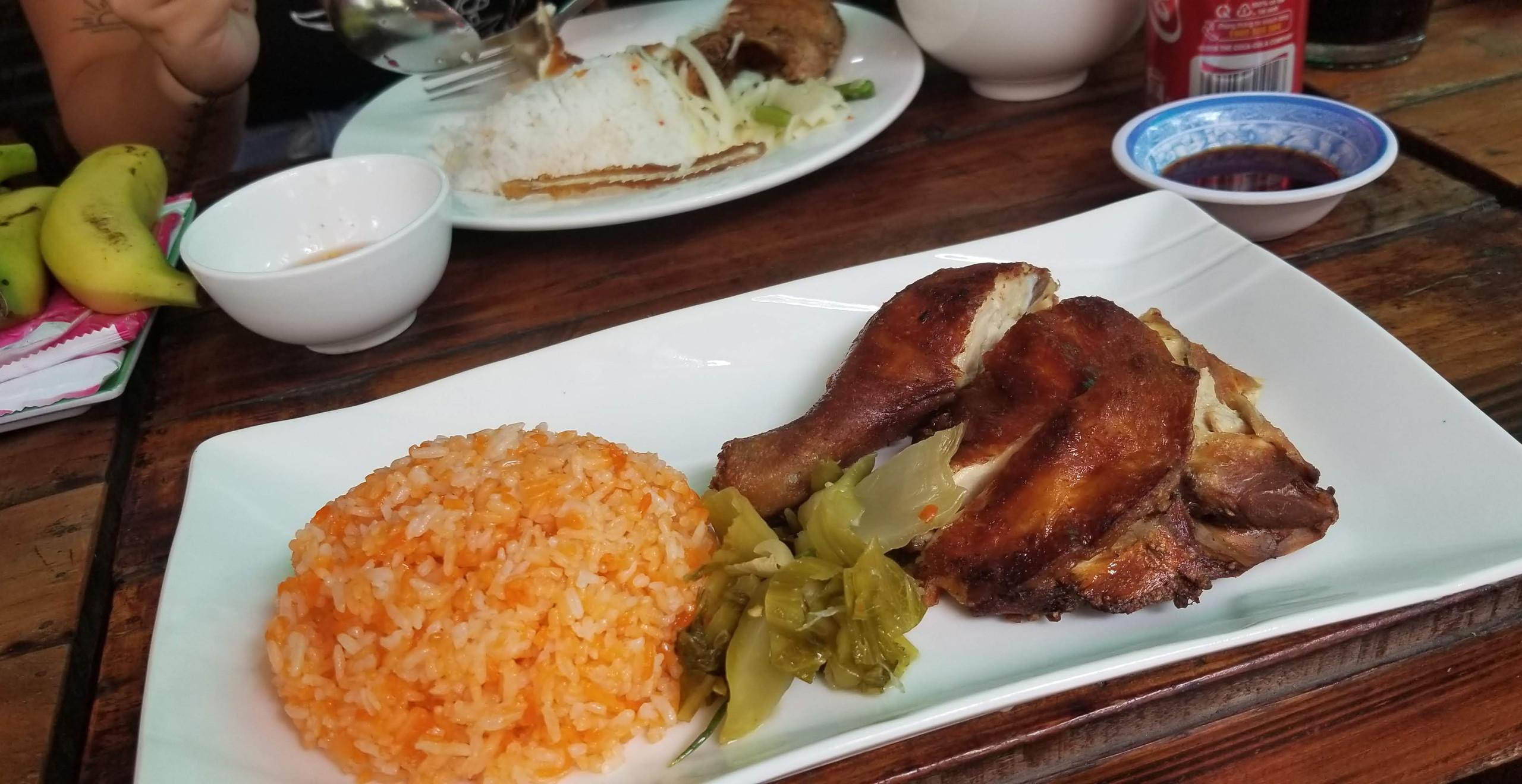 Crispy chicken with pickled veggies