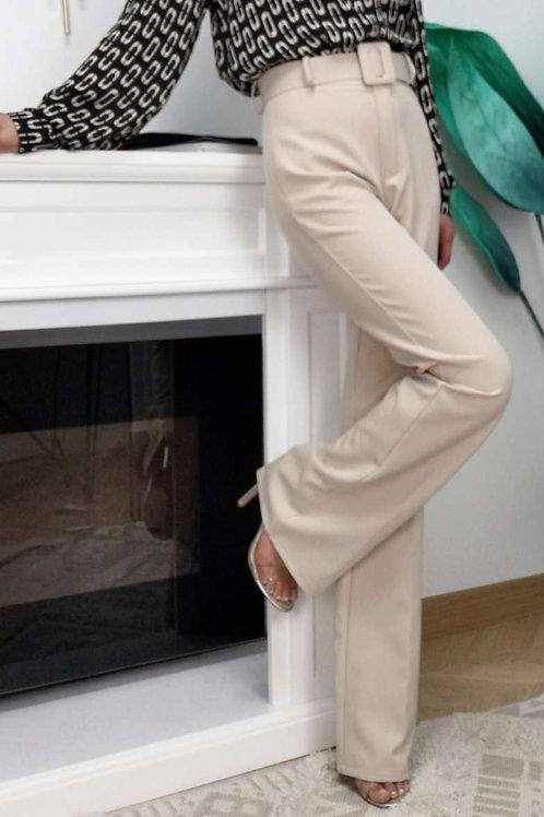 Pantalon avec ceinture taille haute évasé