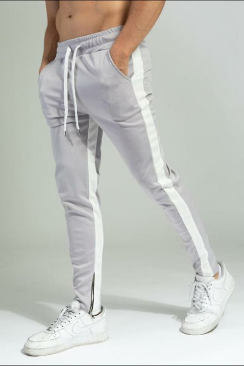 Pantalon Jogging A Bandes 65 Gris Blanc