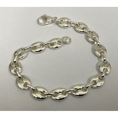 Bracelet maille grain de café en or blanc