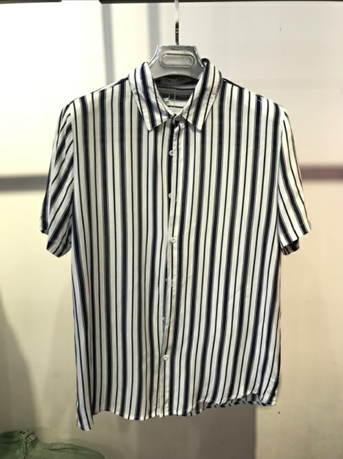 Chemise manche courte blanc rayure verticale noire