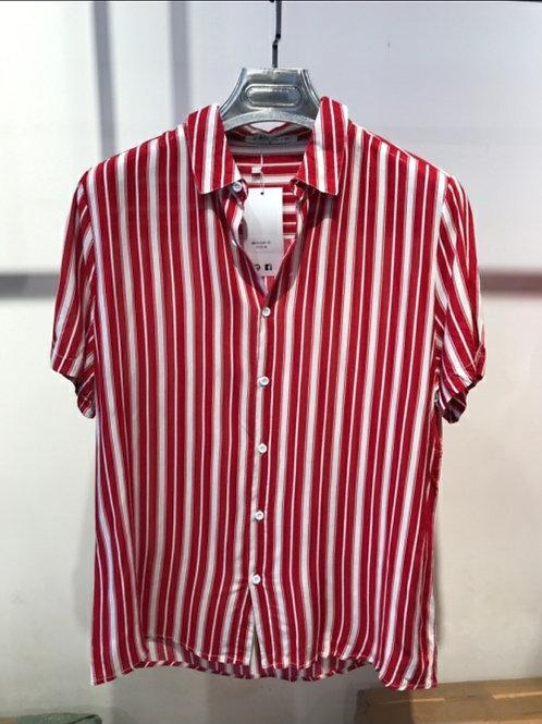 Chemise manche courte rouge rayure verticale noire