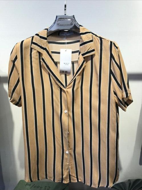 Chemise manche courte jaune rayure verticale noire