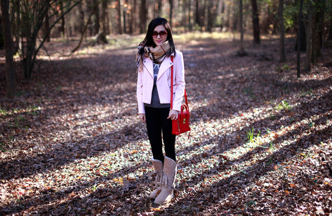 Pink Moto Jacket And Winter Boots