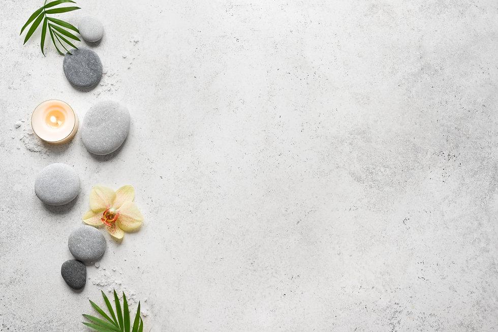 Spa concept on white stone background, p
