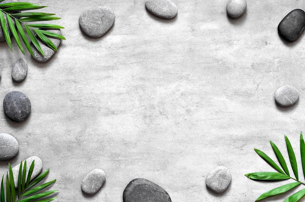 Grey spa background, spa concept, palm l
