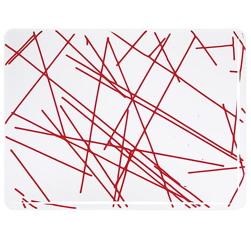 Red Chopstix Clear Base Collage, Double-rolled, 3 mm, Fusible,