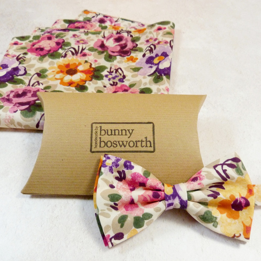 Bold Floral Tana Lawn Bow Tie perfect for Zoom weddings/