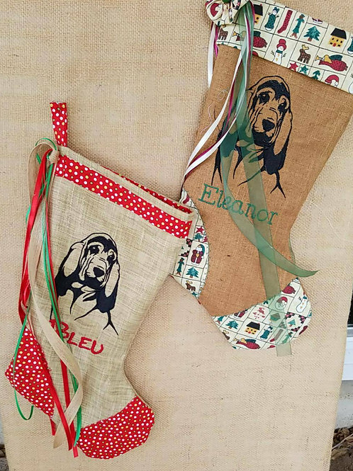 Holiday Bloodhound Stocking
