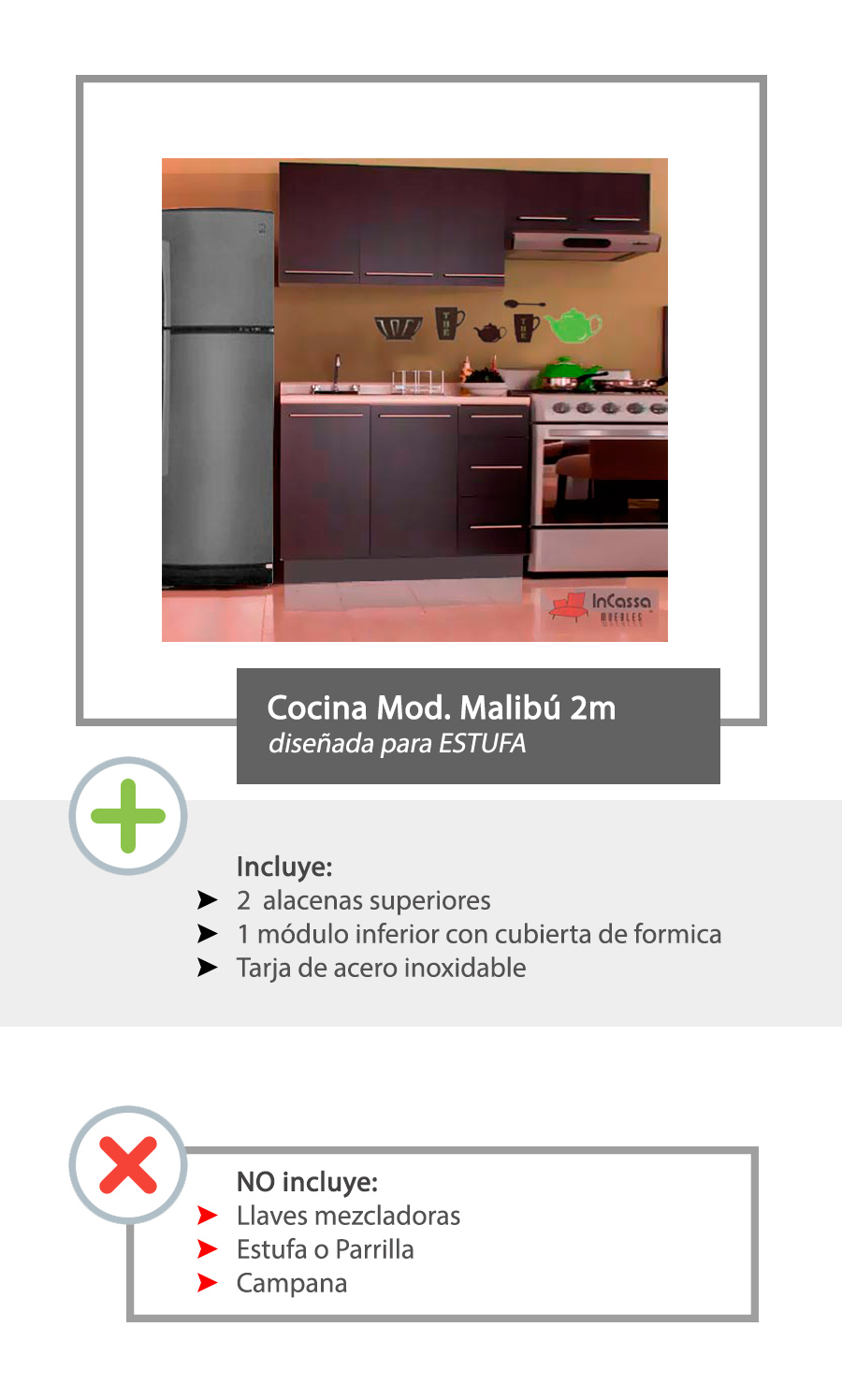 Cocina integral minimalista 2m gabinetes alacenas cubierta for Gabinetes cocina integral