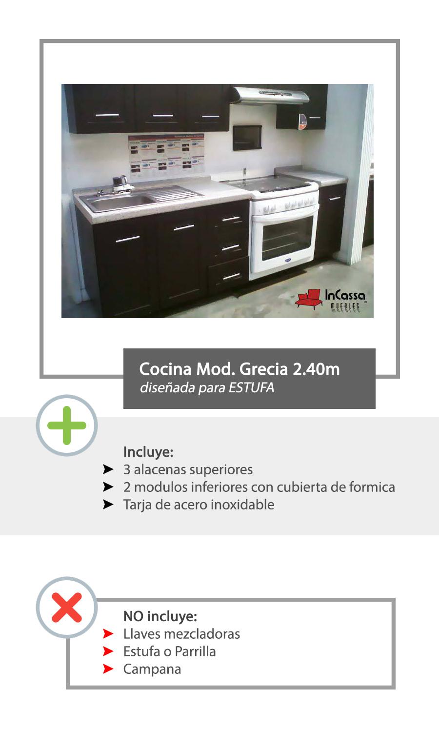 Cocina Integral Minimalista Mod Grecia Para Estufa