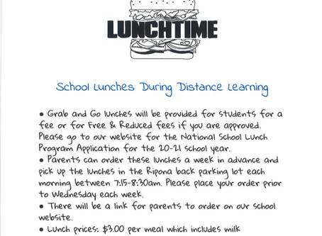 School Lunch Pick-up During Distance Learning