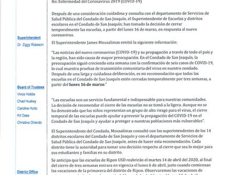 RUSD School Closure (Spanish)