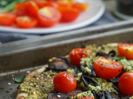Almond pesto pizza with balsamic-glazed portobellos and cherry tomatoes