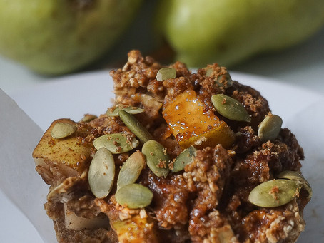 Pear and oat muffins with toasted pepita crumble