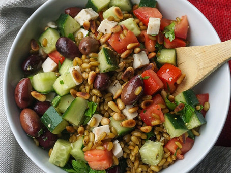 Chunky greek salad with greenwheat freekeh and herbed vinaigrette
