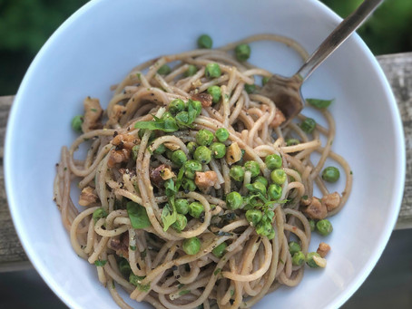 Aglio e olio with peas and walnuts