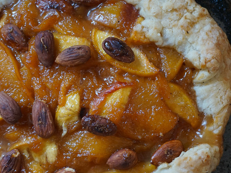 Whiskey peach and toasted almond galette