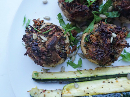 Vegan sausage and kale stuffed mushrooms with lemony zucchini spears