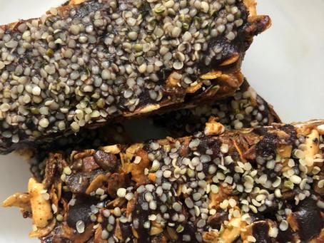 Chocolate, fig, walnut, and hemp granola bars