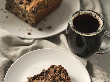 Gluten free banana bread with extra chocolate chips and extra walnuts
