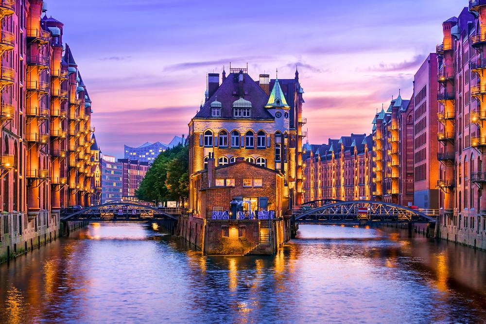 Hamburg water ways, cruise from Hamburg to Oslo