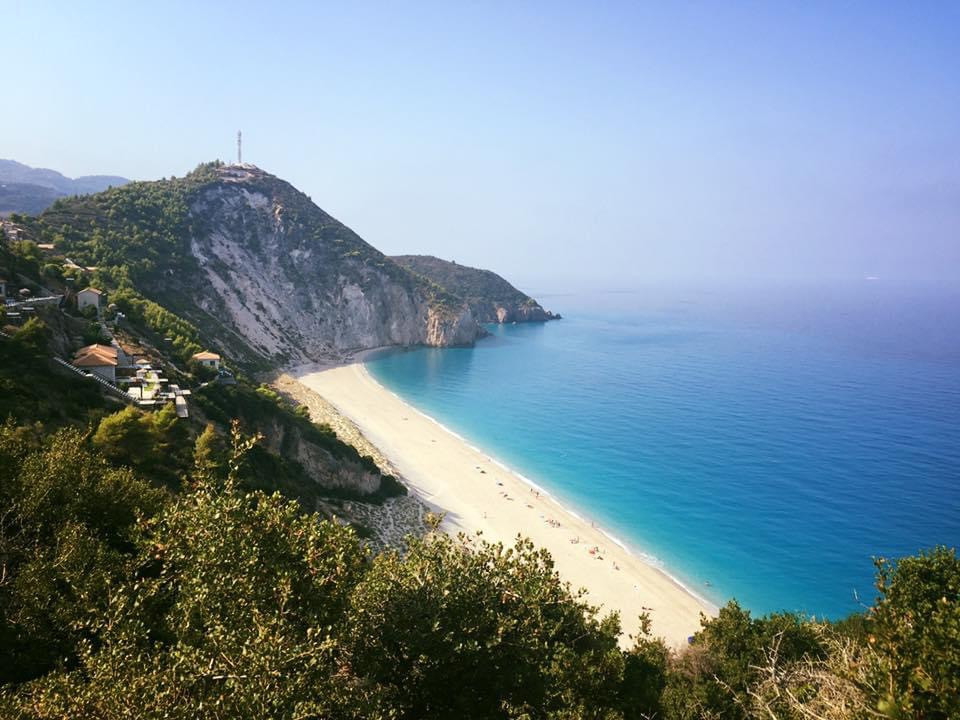Milos beach hidden by a Forrest trail on lefkada island in Greece