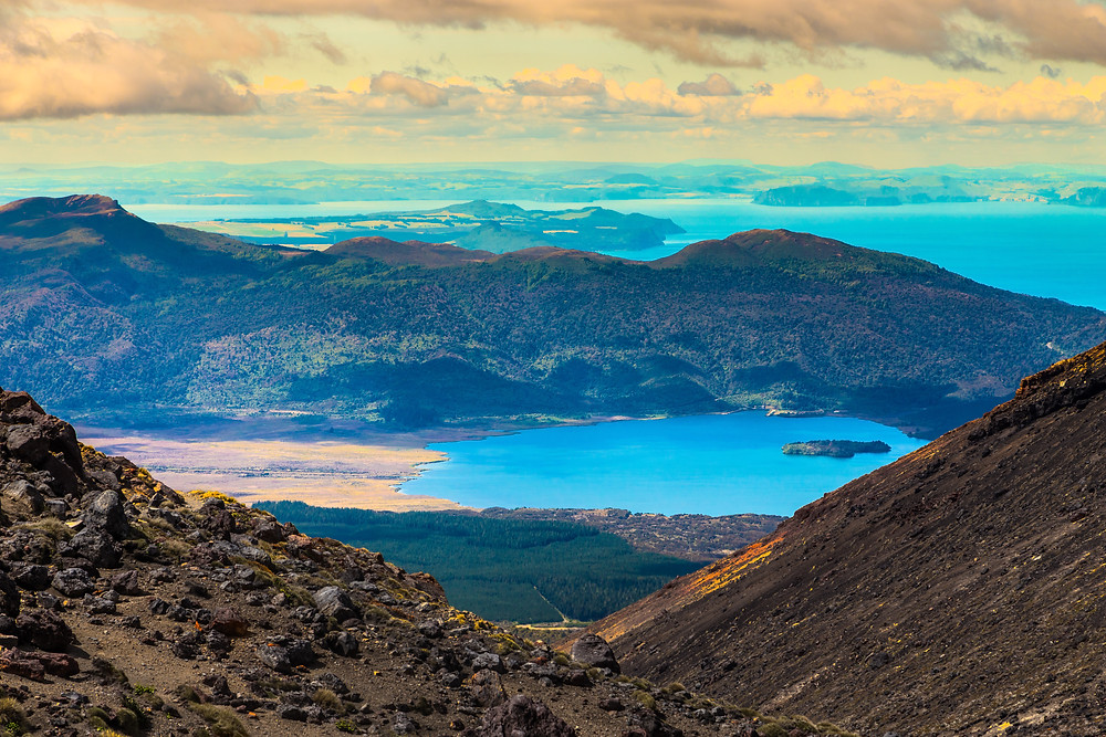 Looking Towards Lake Rotoaira And The Great Lake Taupo From The Famous Tongariro Crossing