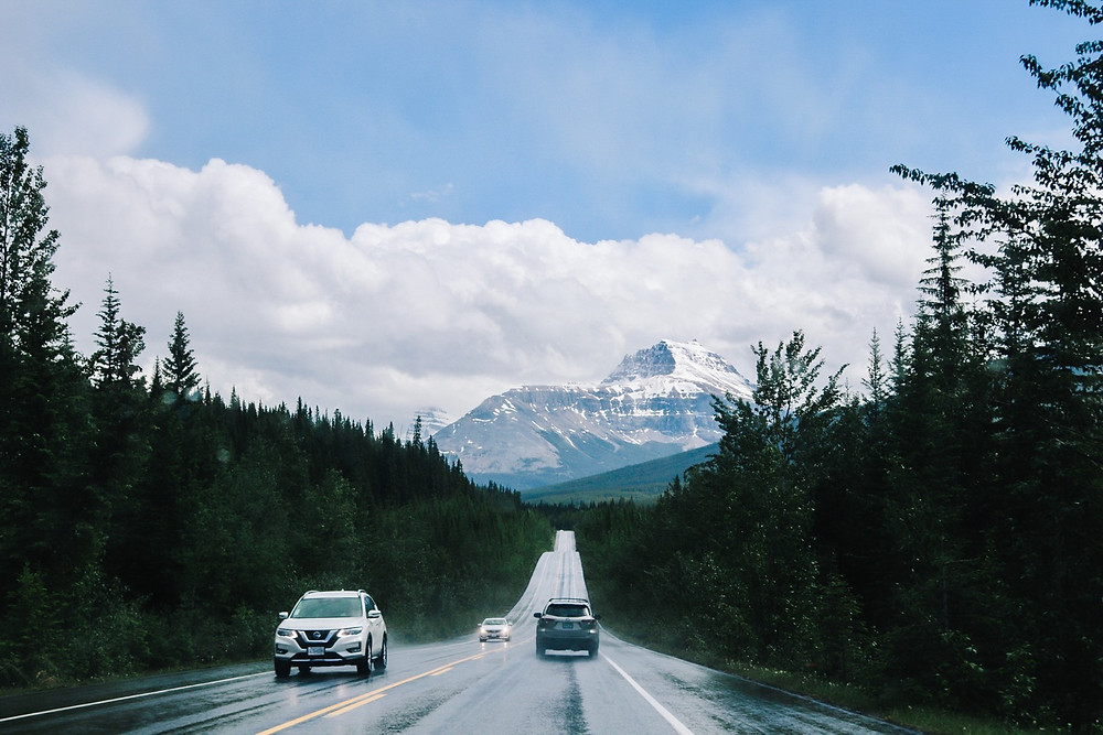 Driving down the Icefields Parkway Towards Banff