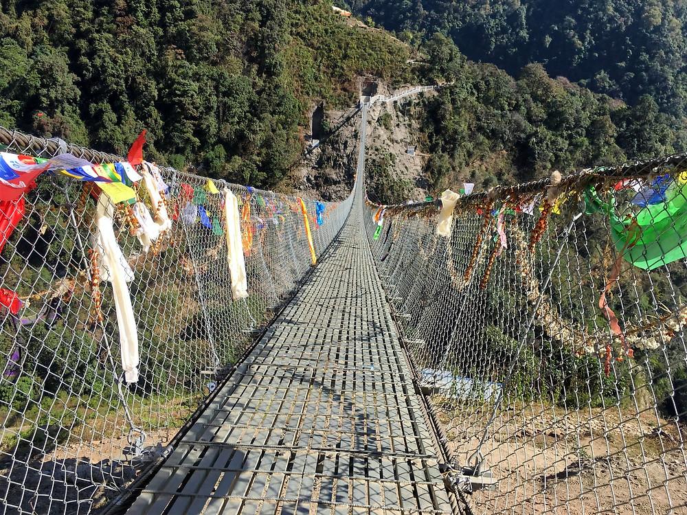 Bridge built by Gurkhas over the Annapurna Valley, Nepal