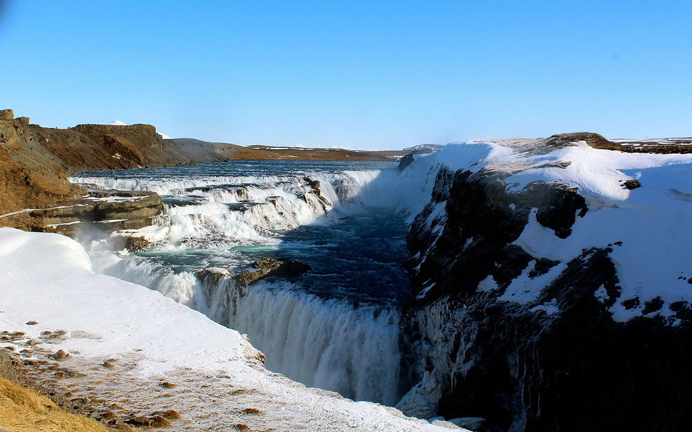The Iceland Ring road and Gulfoss Waterfalls Still Mostly Frozen From Winter