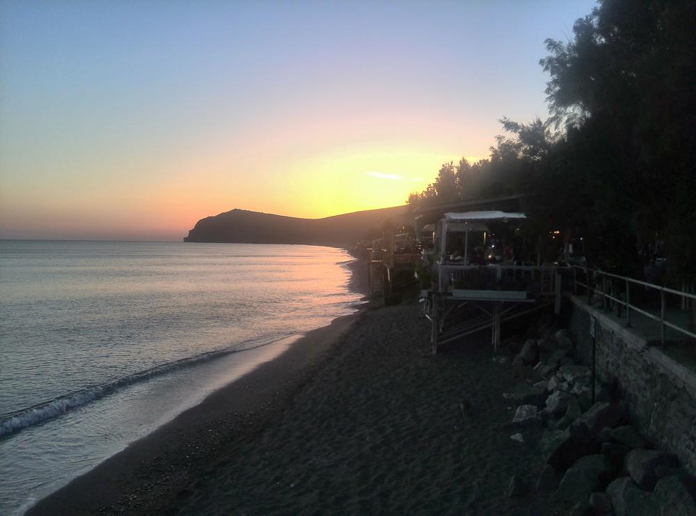 Sunset over greek village of Skala Eresou