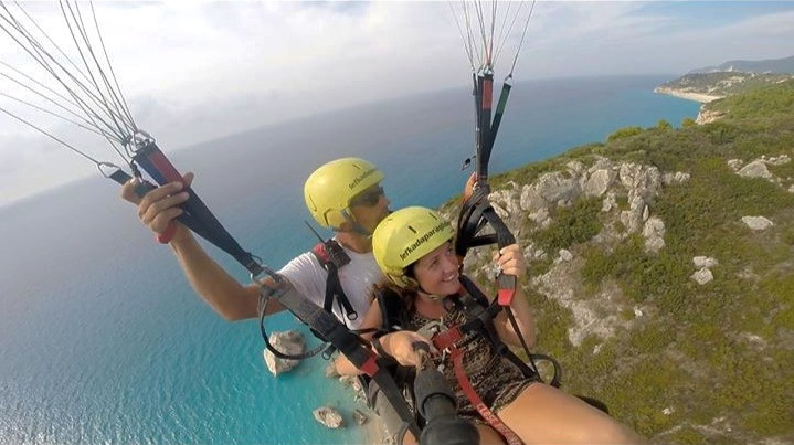 Paragliding in Greece in summer