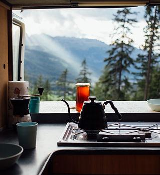 Interior of converted camper van or camp