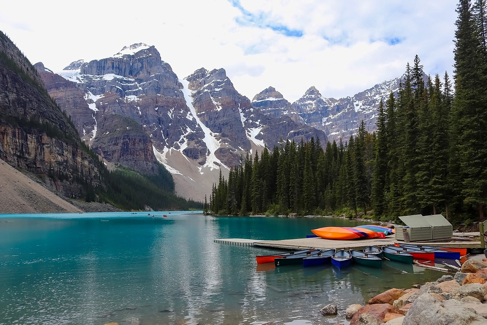 Moraine lake and Canoes in Banff National Park