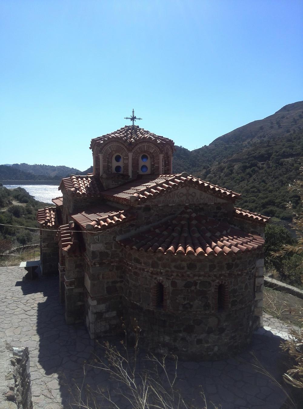Moni Pithariou Monastery just outside of Skala Eresou on Lesvos Island, Greece