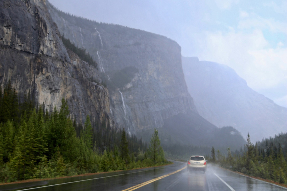 Driving Down The Icefields Parkway In The Rocky Mountains, Canda