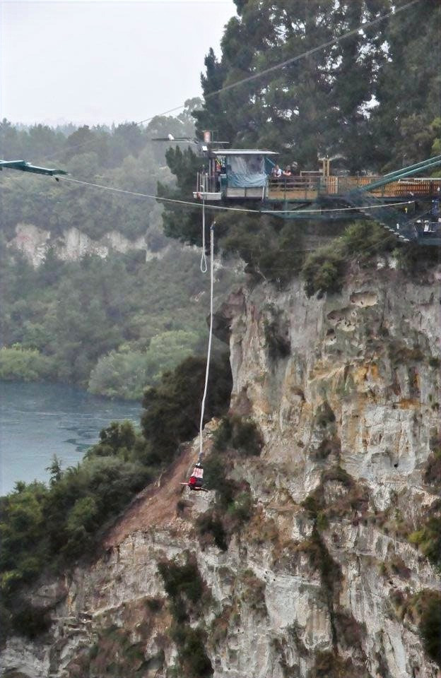 Bungy jump in Taupo, New Zealand