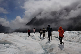 Group of touring at Fox Glacier - South