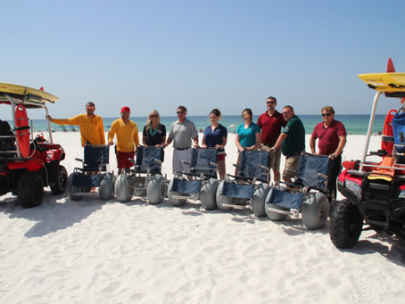 S.E.A. Campaign donates six new beach wheelchairs to Okaloosa County