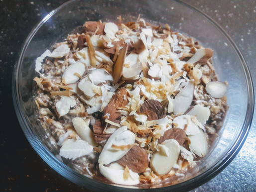 Chocolate Coconut Overnight Oats with Toasted Almonds