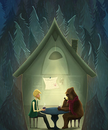 bear in the woods sketch 2 print levels.