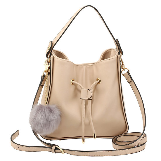 Nude drawstring Tote Bag with faux fur bag charm