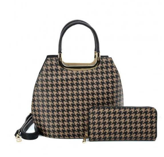 Houndstooth Design Bag with matching purse Brown style